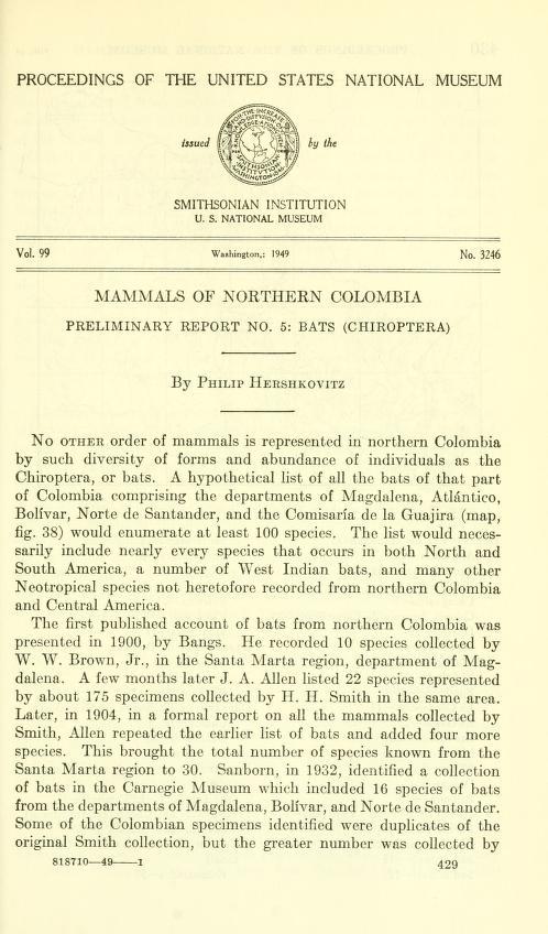 Mammals of northern Colombia, preliminary report, no. 5: bats (Chiroptera)