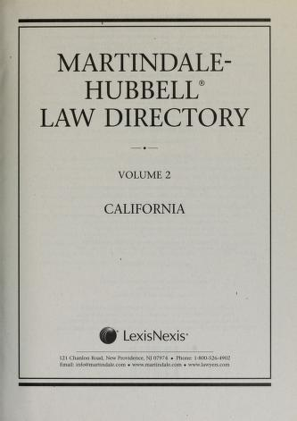 Cover of: Martindale-Hubbell law directory | James B. Martindale