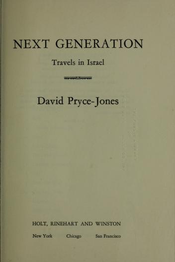 Cover of: Next generation | David Pryce-Jones